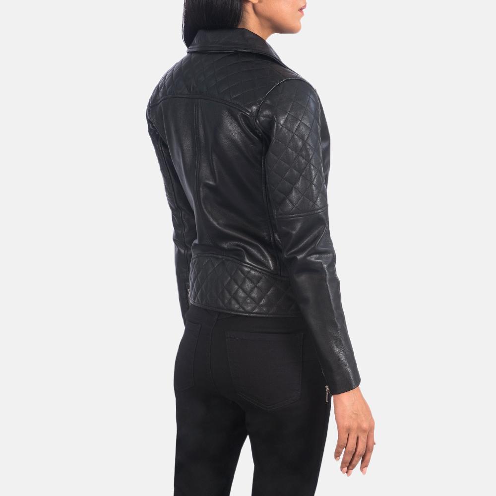 Women's Carolyn Quilted Black Biker Jacket 5