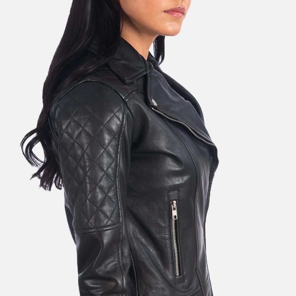 Women's Carolyn Quilted Black Biker Jacket 6