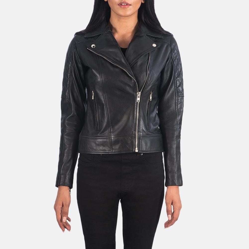 Women's Carolyn Quilted Black Biker Jacket 4