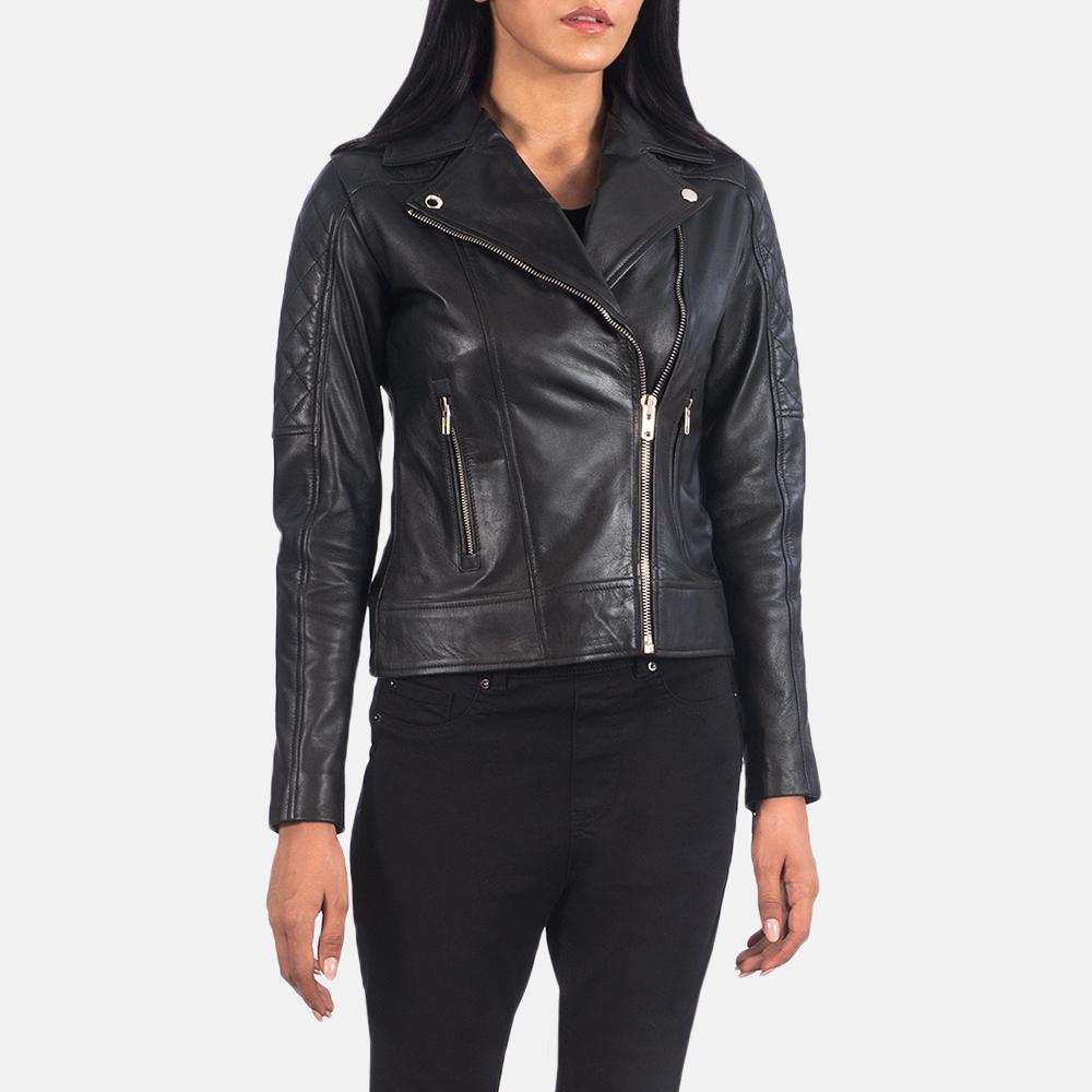 Women's Carolyn Quilted Black Biker Jacket 2