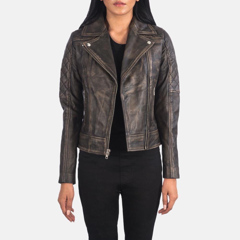 Women's Carolyn Quilted Distressed Brown Biker Jacket 3