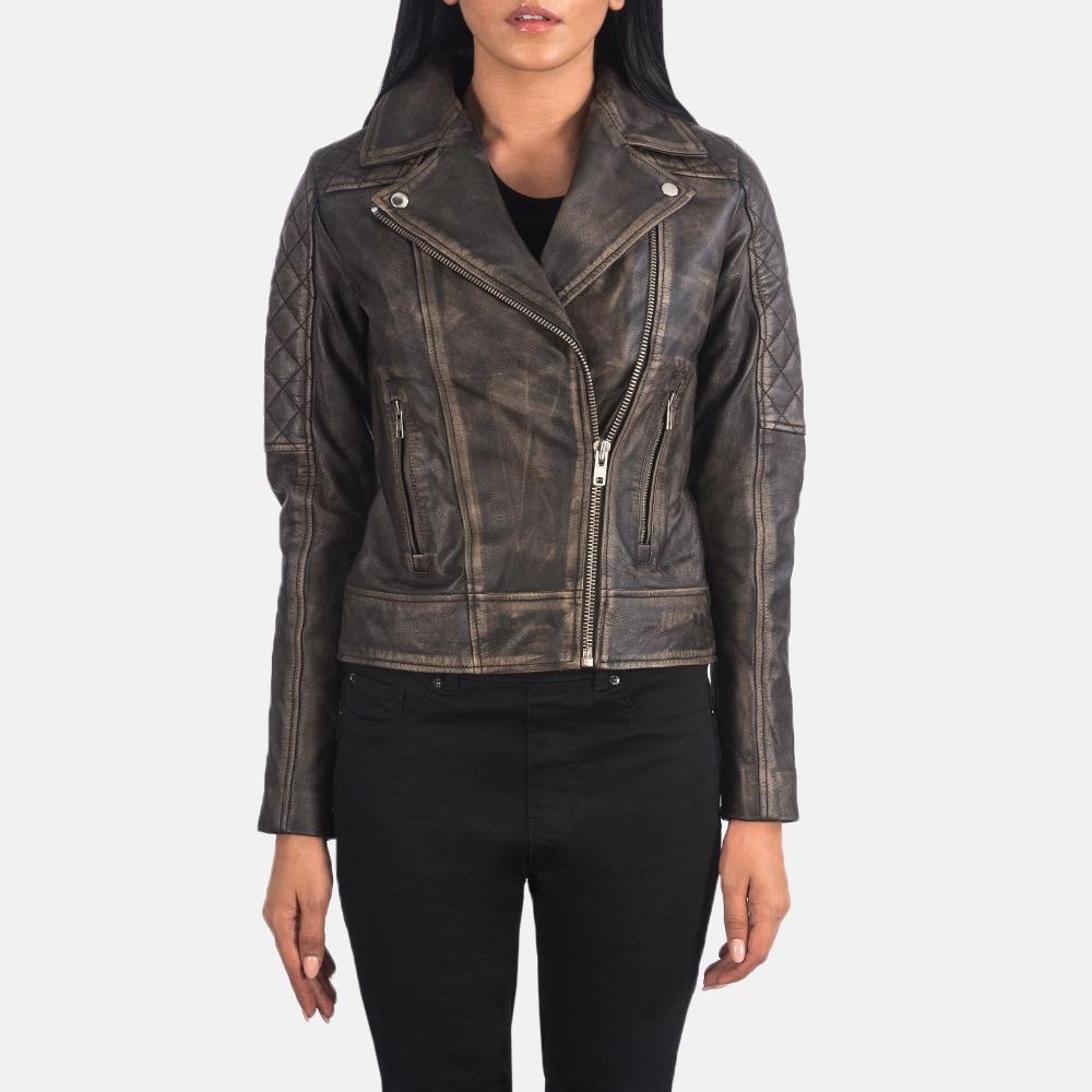 Women's Carolyn Quilted Distressed Brown Biker Jacket 4
