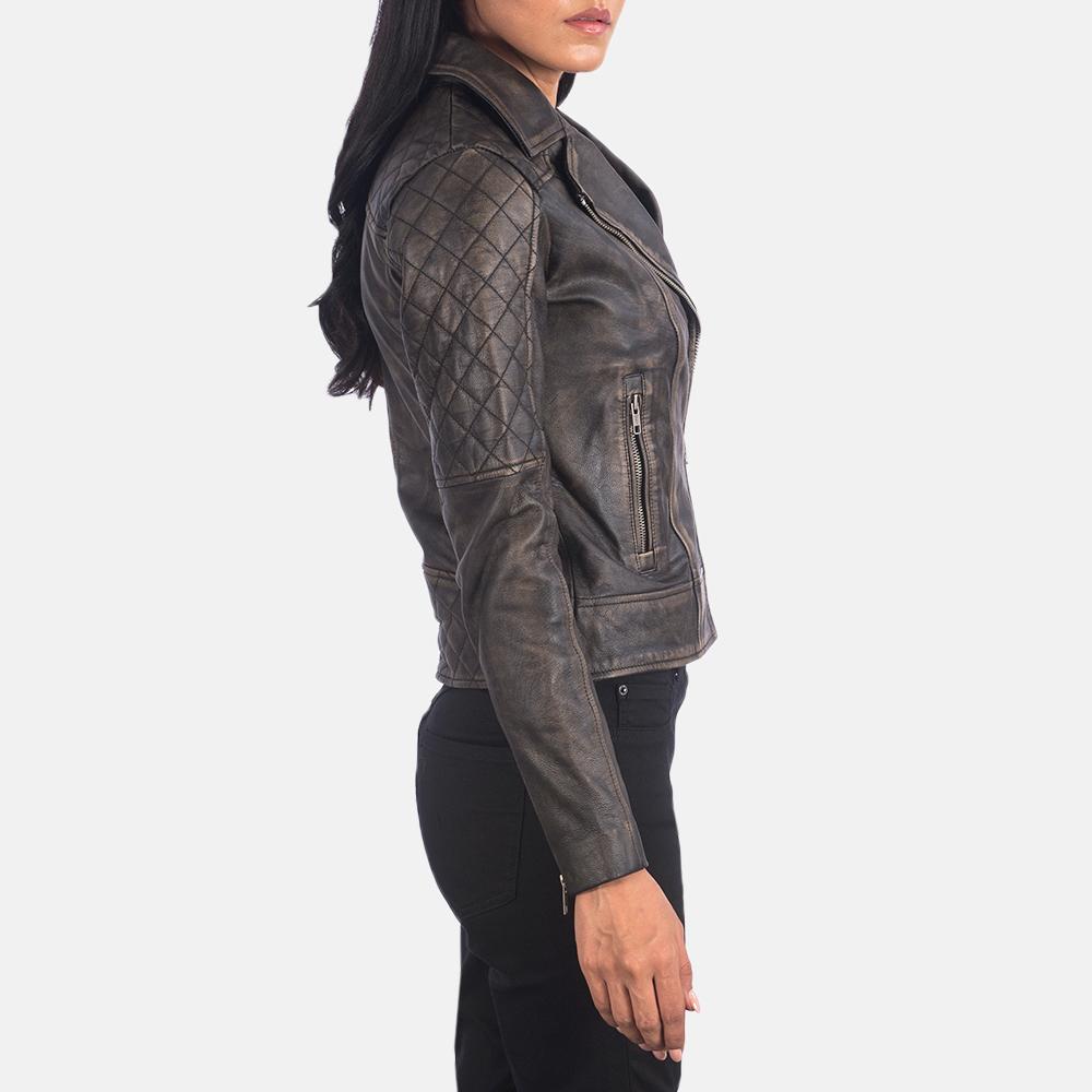 Women's Carolyn Quilted Distressed Brown Biker Jacket 6