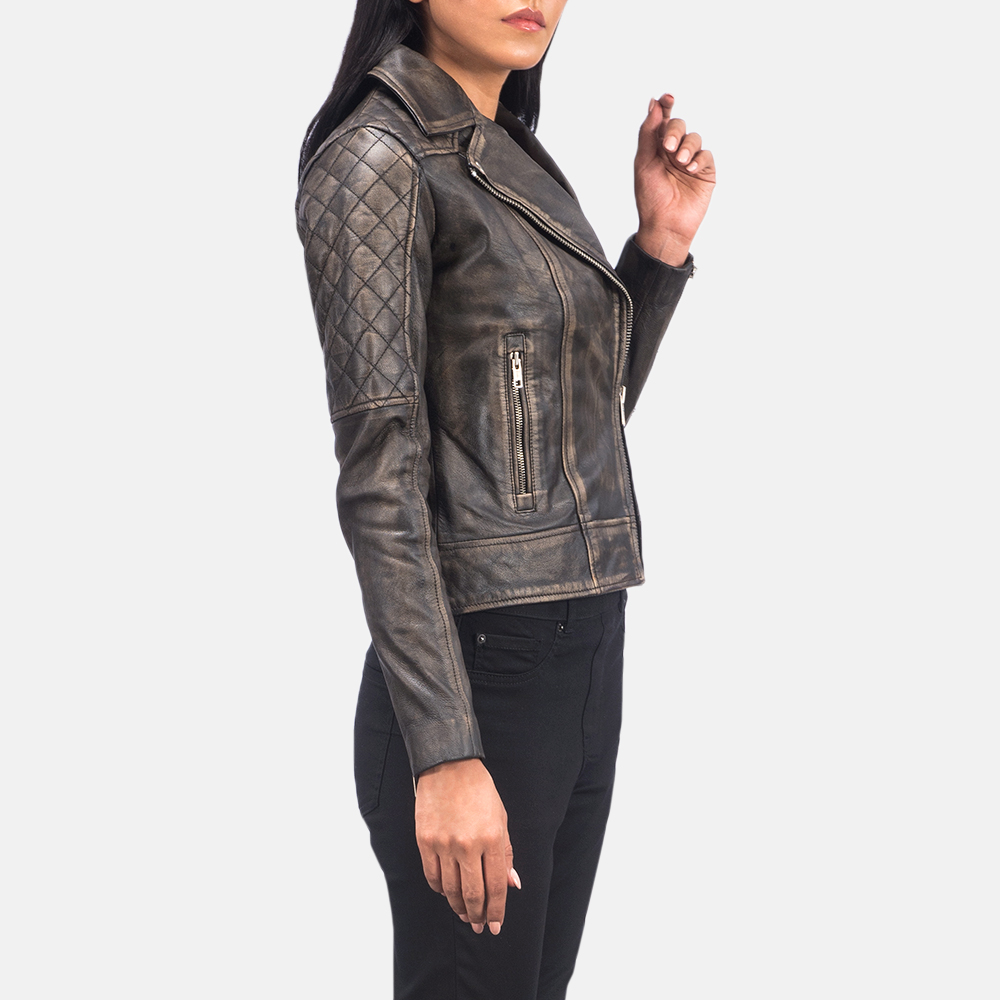 Women's Carolyn Quilted Distressed Brown Biker Jacket 2