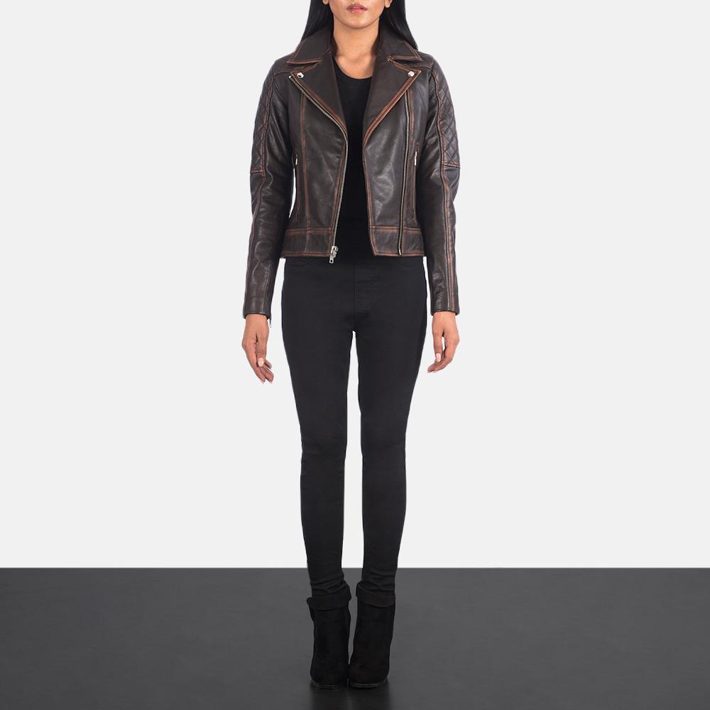 Women's Carolyn Quilted Vintage Brown Biker Jacket 1