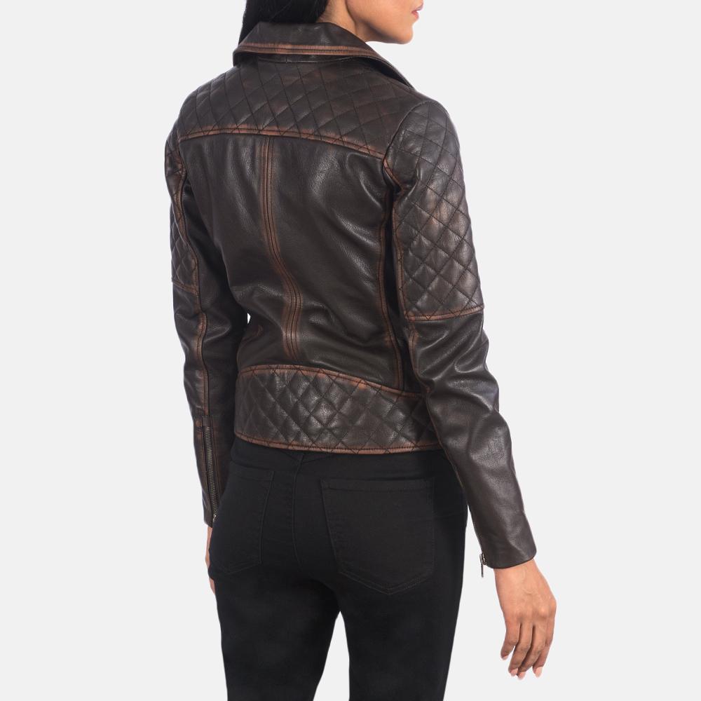 Women's Carolyn Quilted Vintage Brown Biker Jacket 5