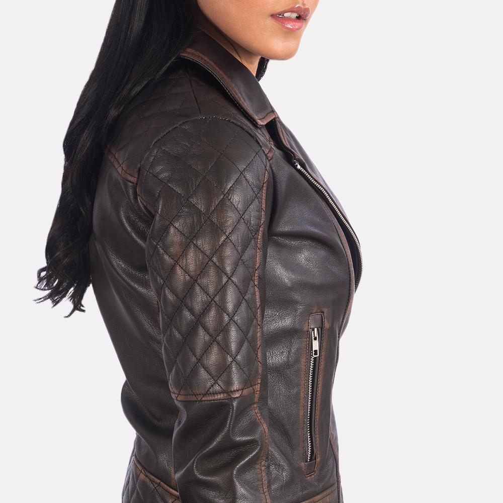 Women's Carolyn Quilted Vintage Brown Biker Jacket 6