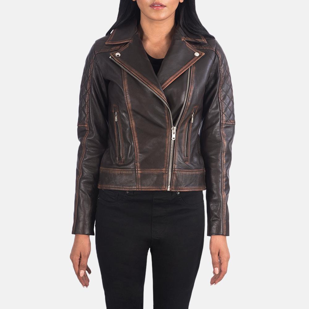 Women's Carolyn Quilted Vintage Brown Biker Jacket 3