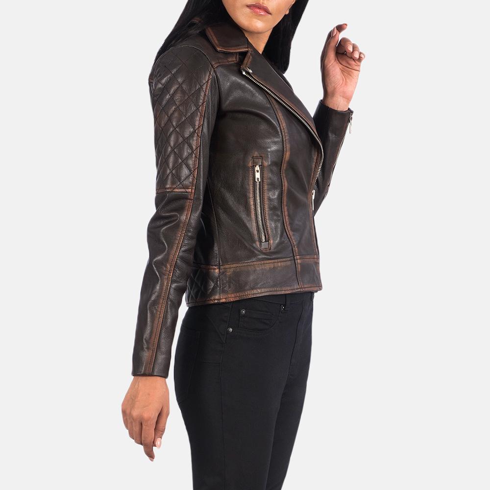 Women's Carolyn Quilted Vintage Brown Biker Jacket 2