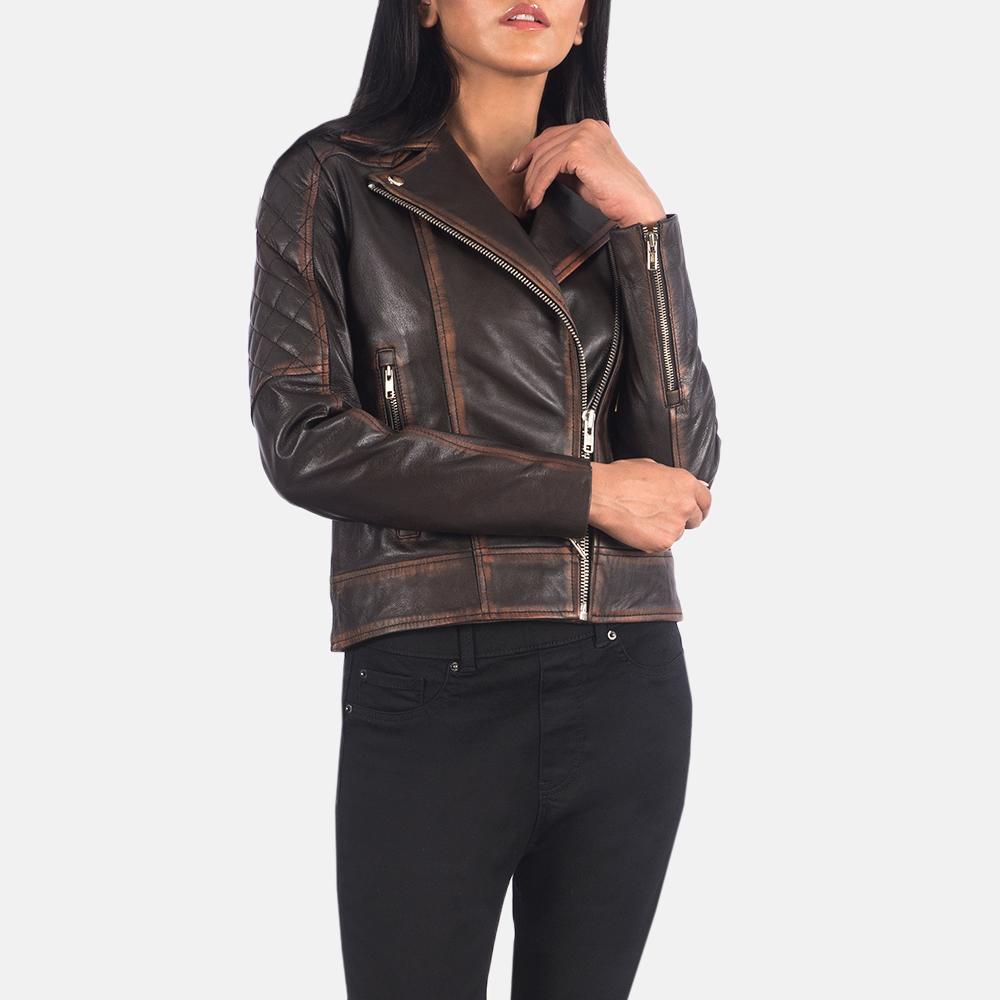 Women's Carolyn Quilted Vintage Brown Biker Jacket 4