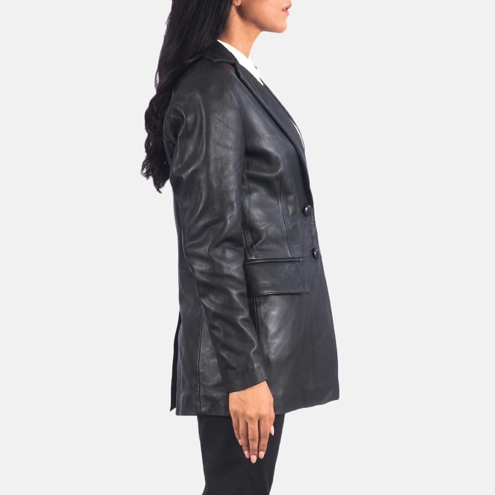 Women's Marilyn Black Leather Blazer 6
