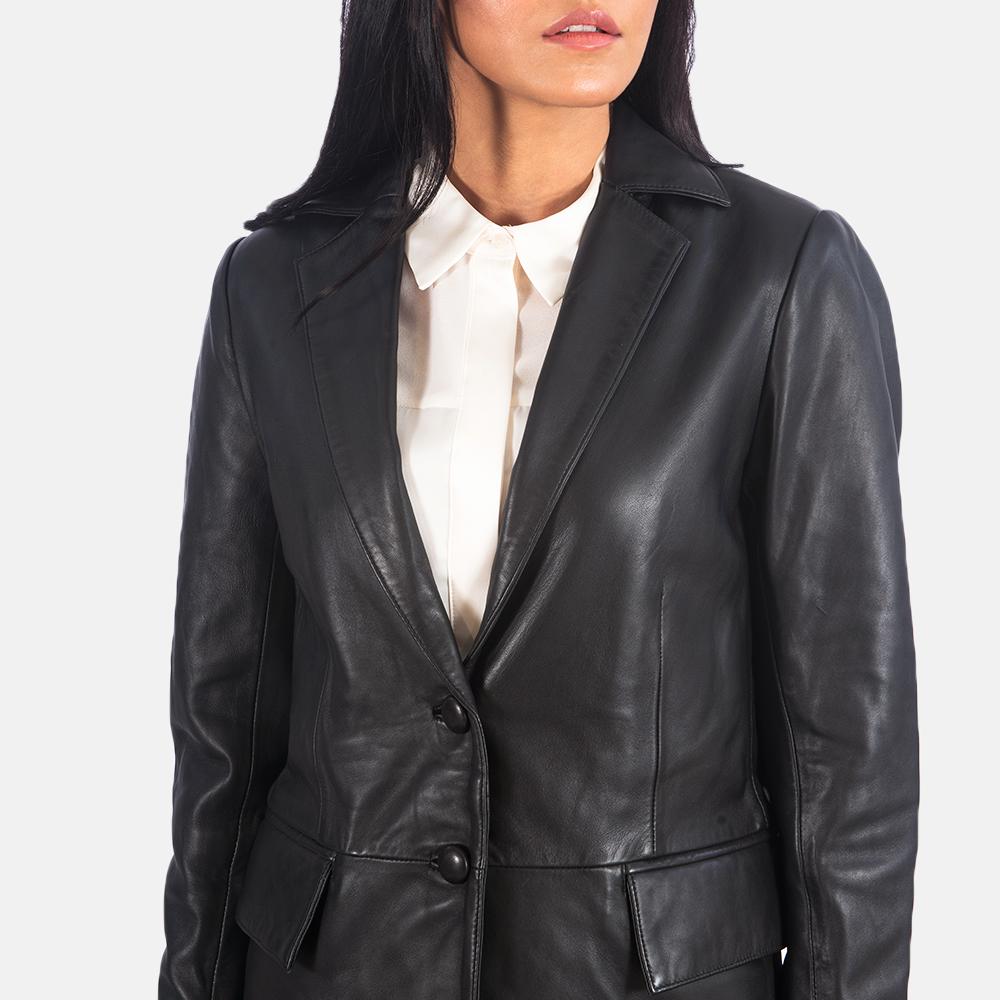 Women's Marilyn Black Leather Blazer 5