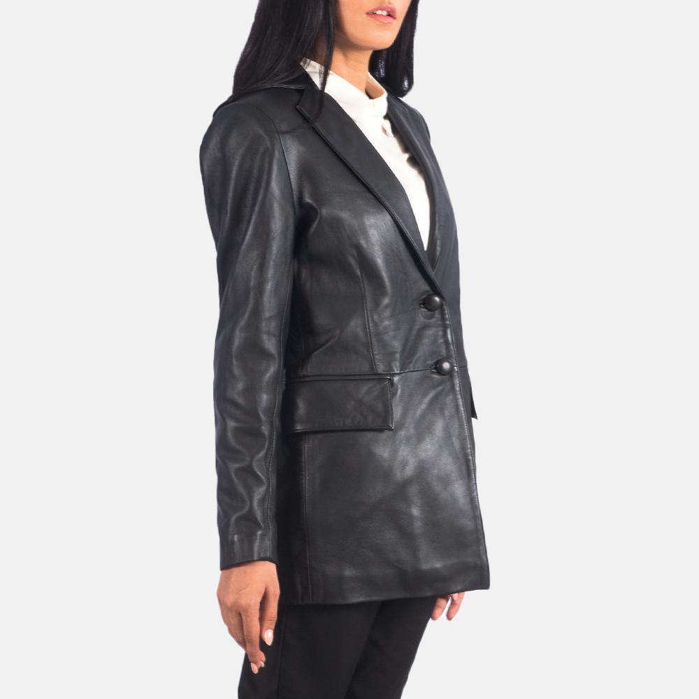 Women's Marilyn Black Leather Blazer 2