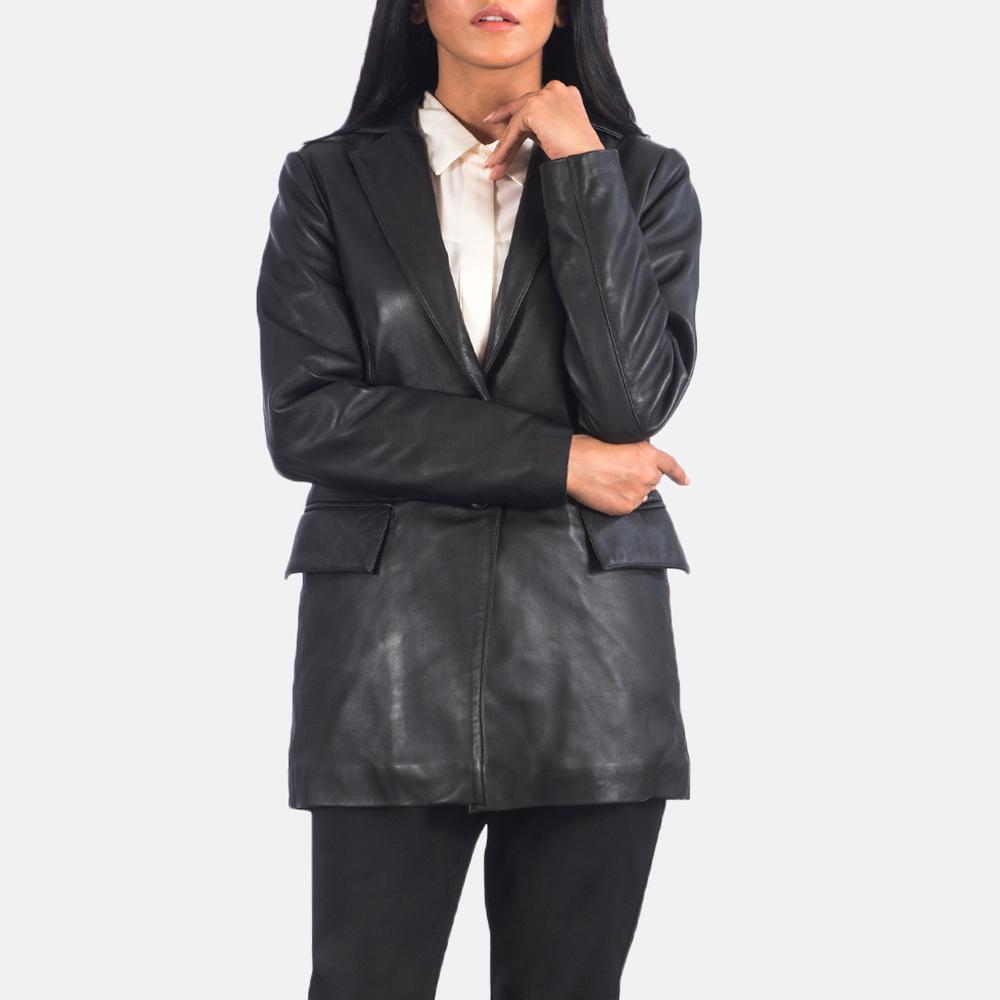 Women's Marilyn Black Leather Blazer 4
