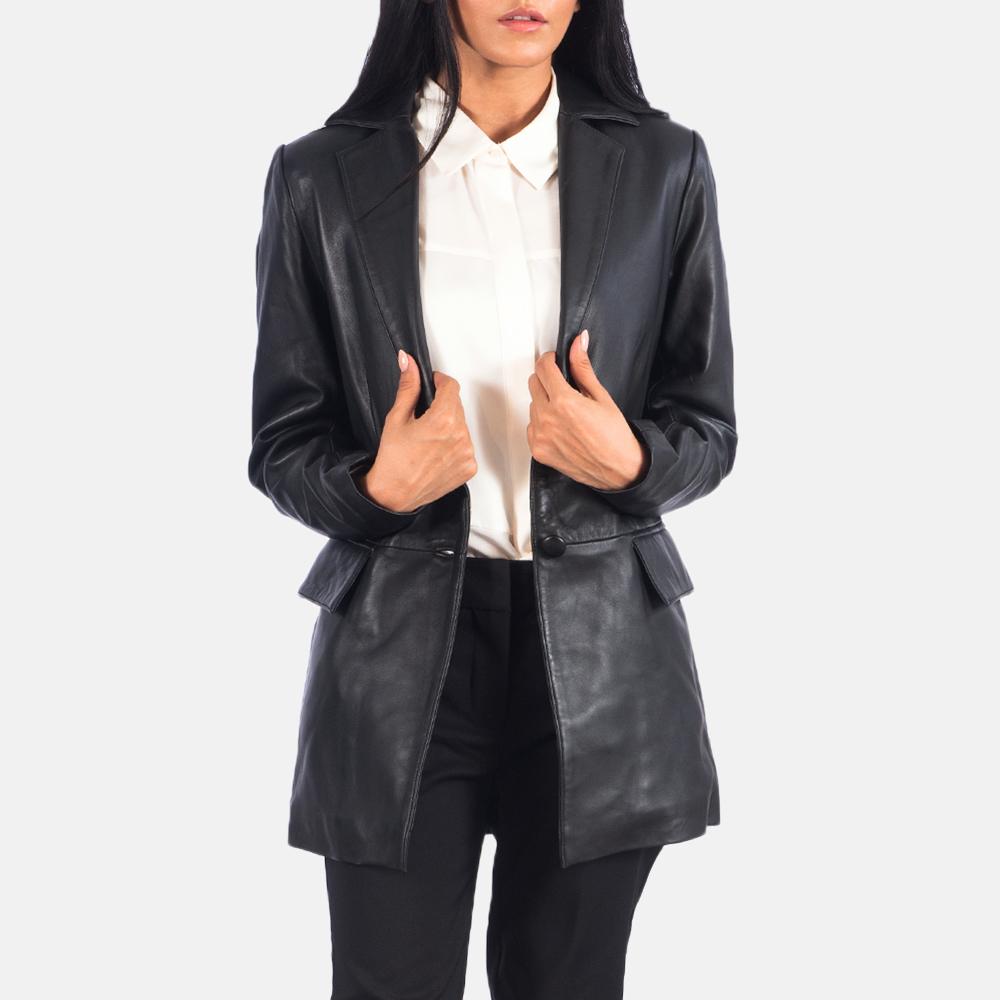Women's Marilyn Black Leather Blazer