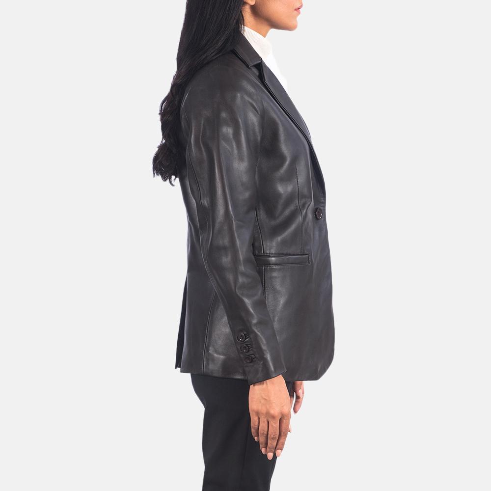 Women's Norma Brown Leather Blazer 5
