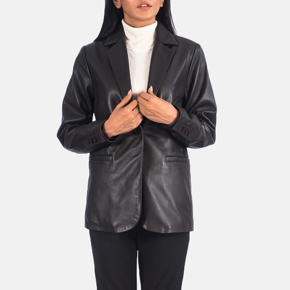 Women's Norma Brown Leather Blazer 4