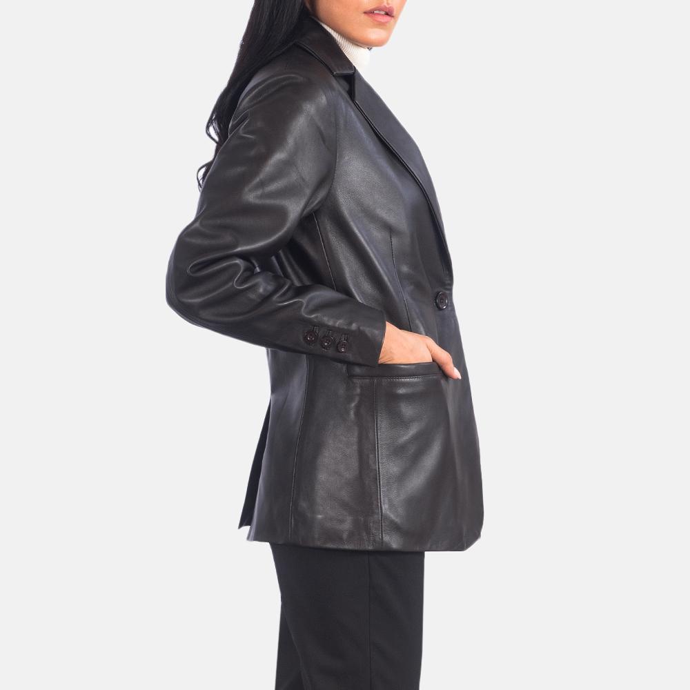 Women's Norma Brown Leather Blazer 2