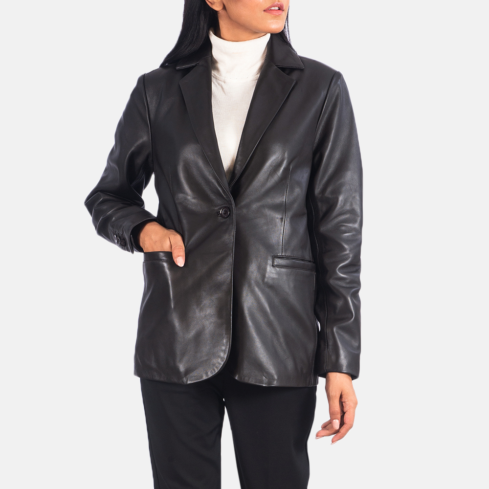 Women's Norma Brown Leather Blazer 6