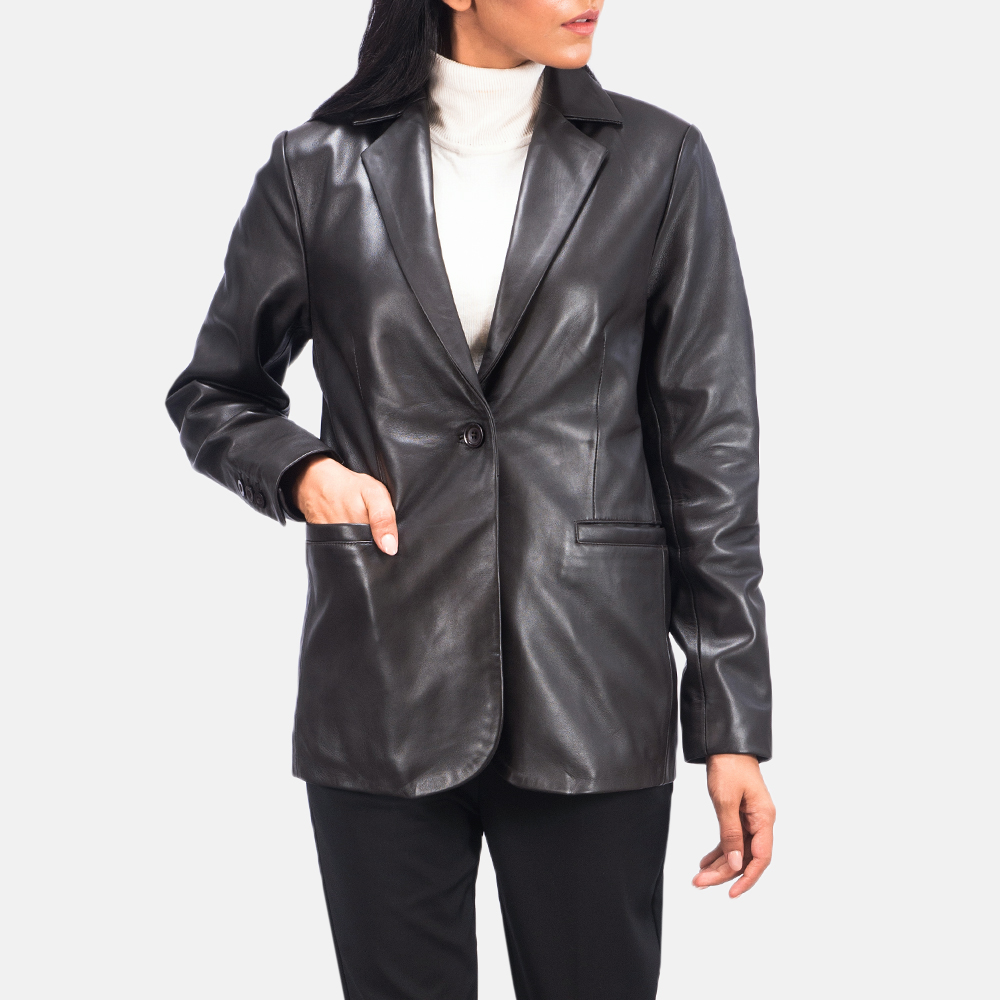 Women's Norma Brown Leather Blazer 3