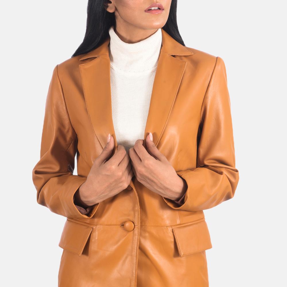 Women's Marilyn Tan Brown Leather Blazer 6
