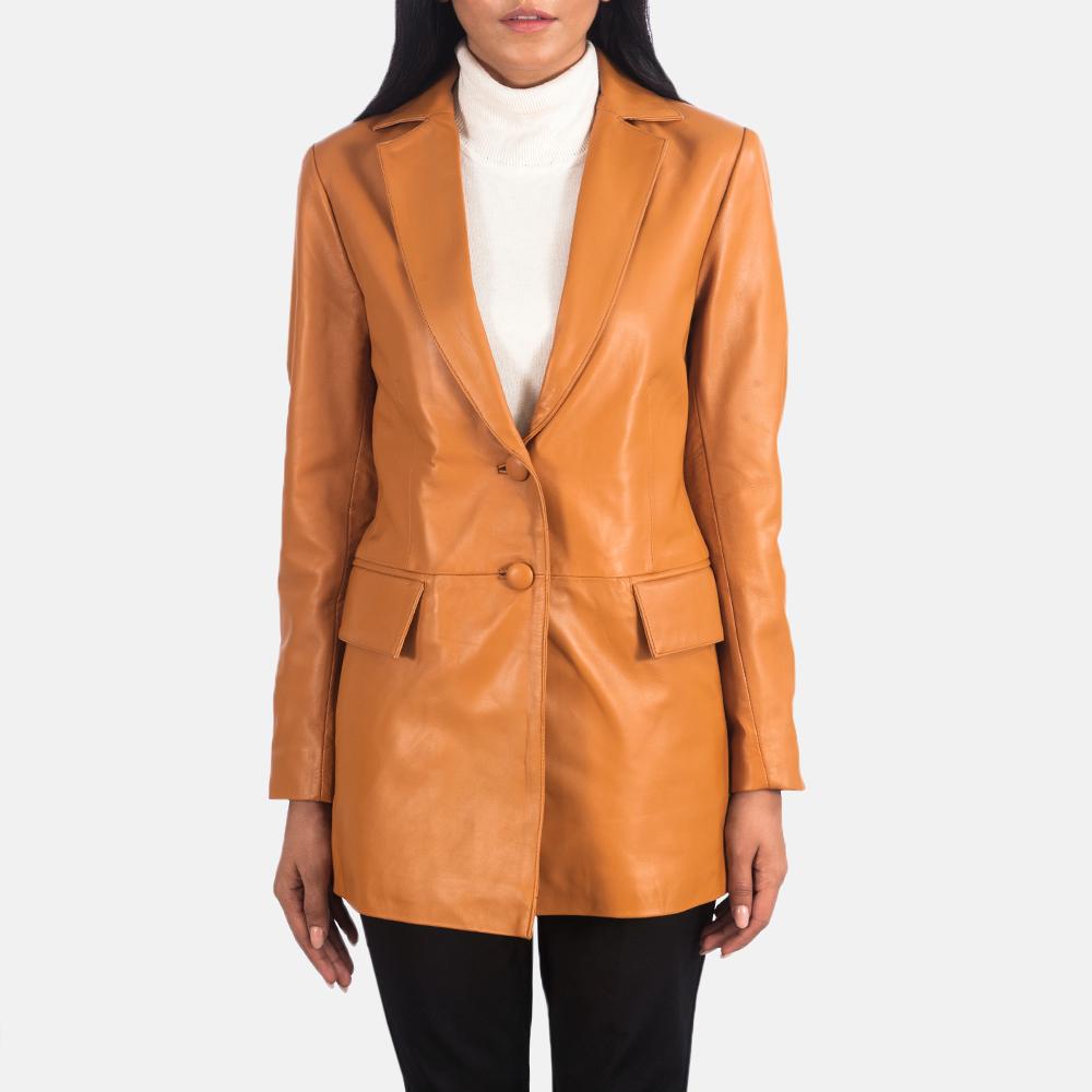 Women's Marilyn Tan Brown Leather Blazer 3
