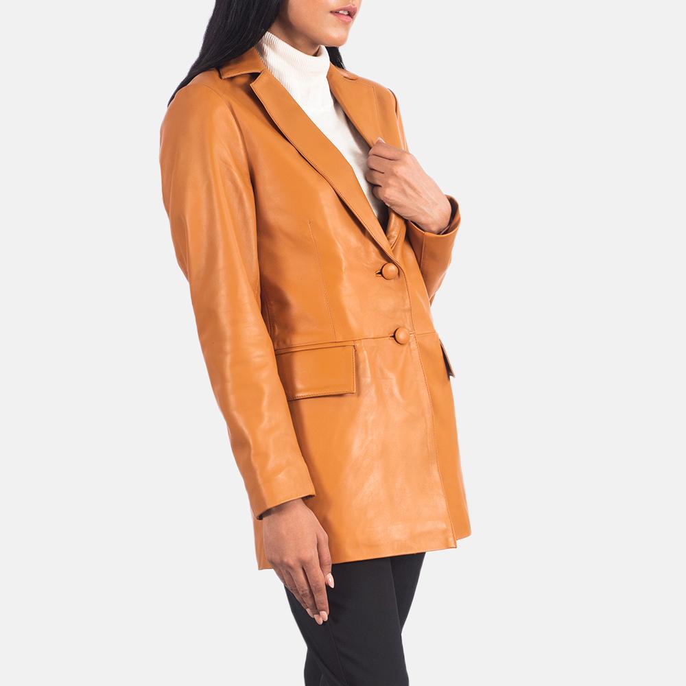 Women's Marilyn Tan Brown Leather Blazer 2