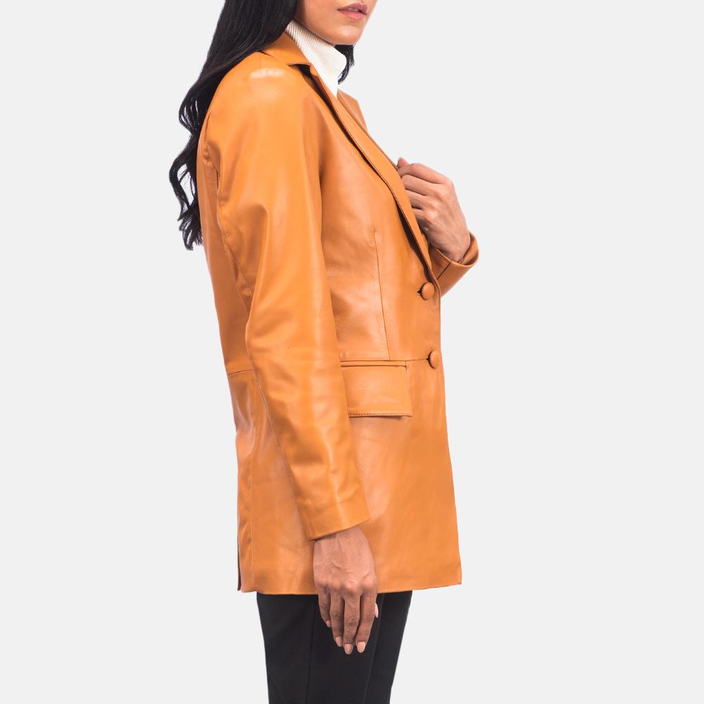 Women's Marilyn Tan Brown Leather Blazer 4