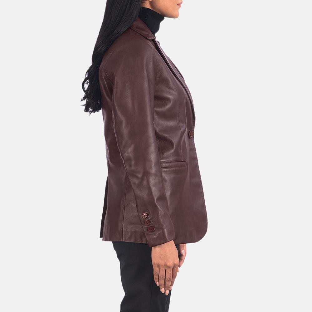 Women's Norma Maroon Leather Blazer 5
