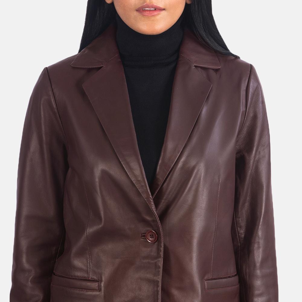 Women's Norma Maroon Leather Blazer 6