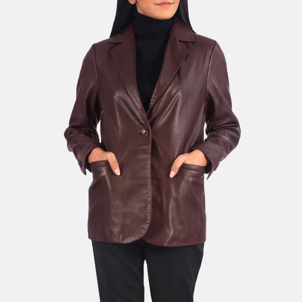 Women's Norma Maroon Leather Blazer 3
