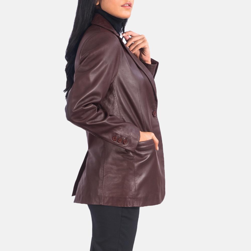 Women's Norma Maroon Leather Blazer 2