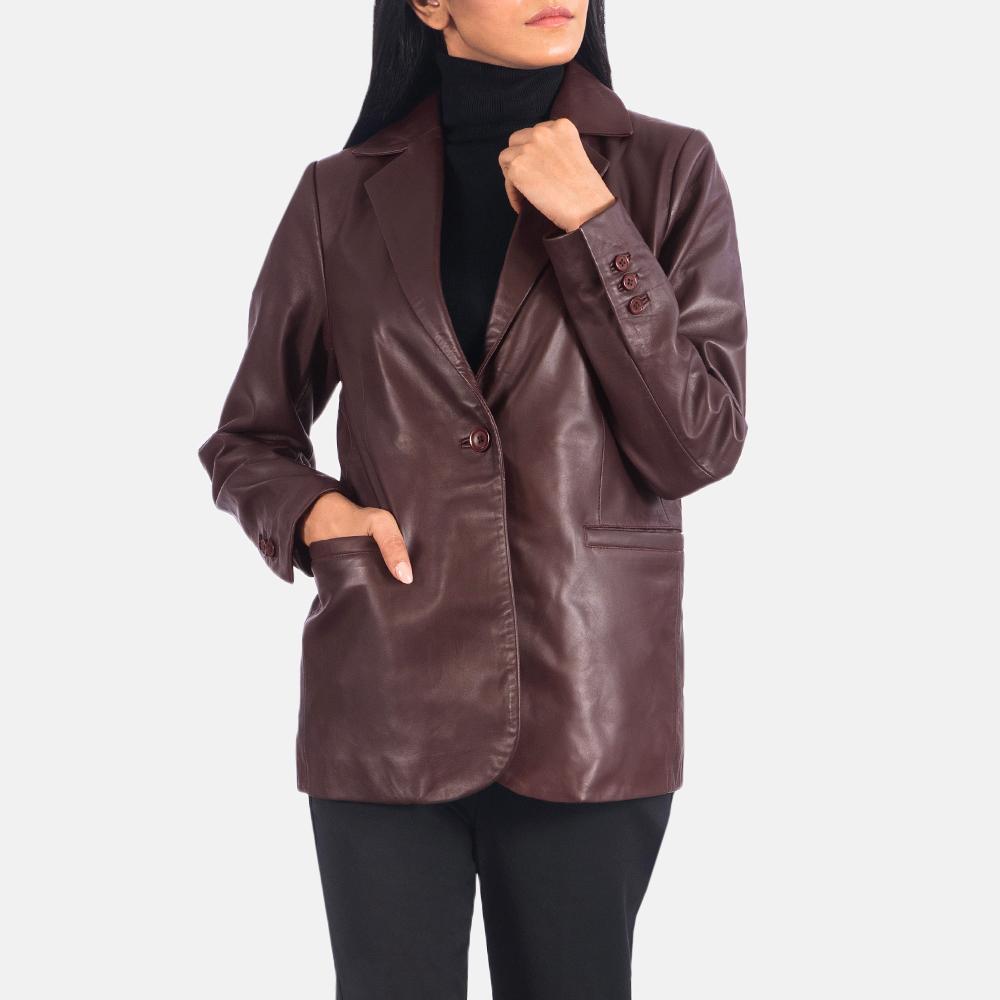 Women's Norma Maroon Leather Blazer 4