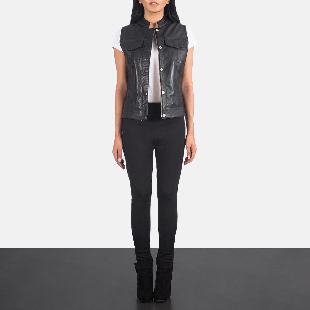 Women's Rayne Moto Black Leather Vest 1