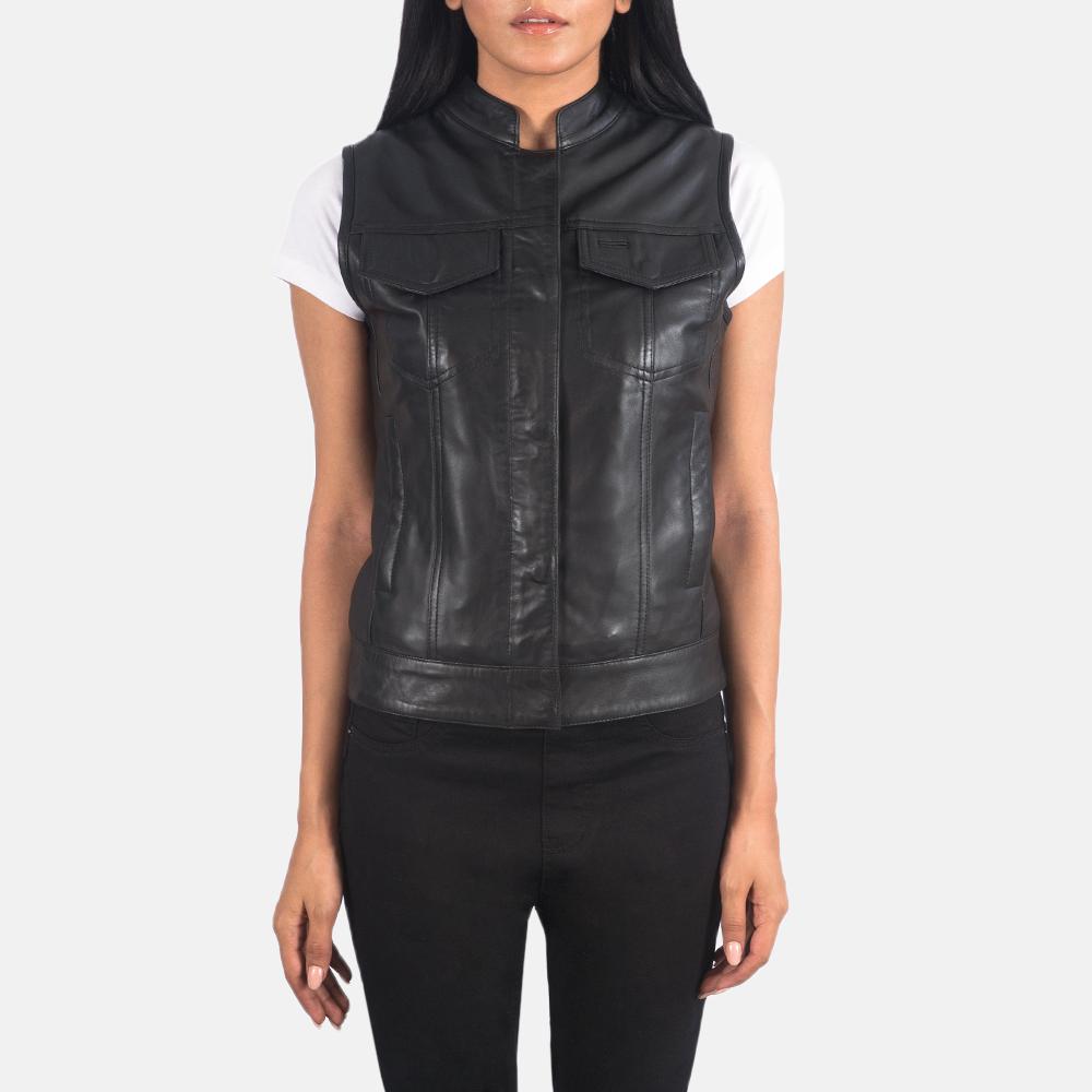 Women's Rayne Moto Black Leather Vest 4