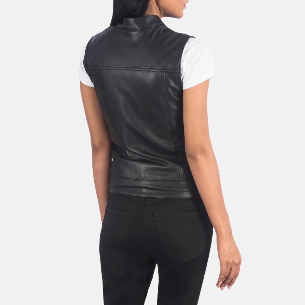 Women's Rayne Moto Black Leather Vest 5