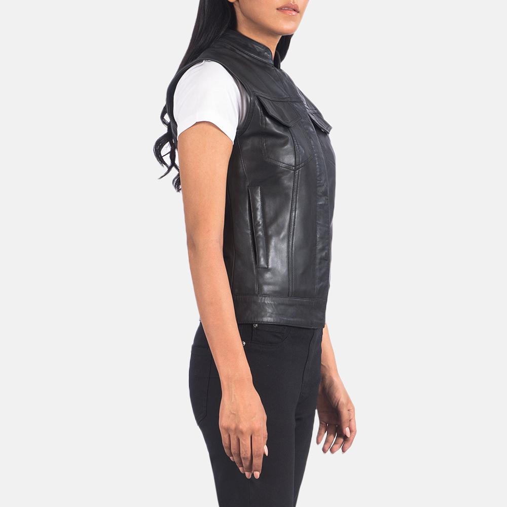 Women's Rayne Moto Black Leather Vest 6