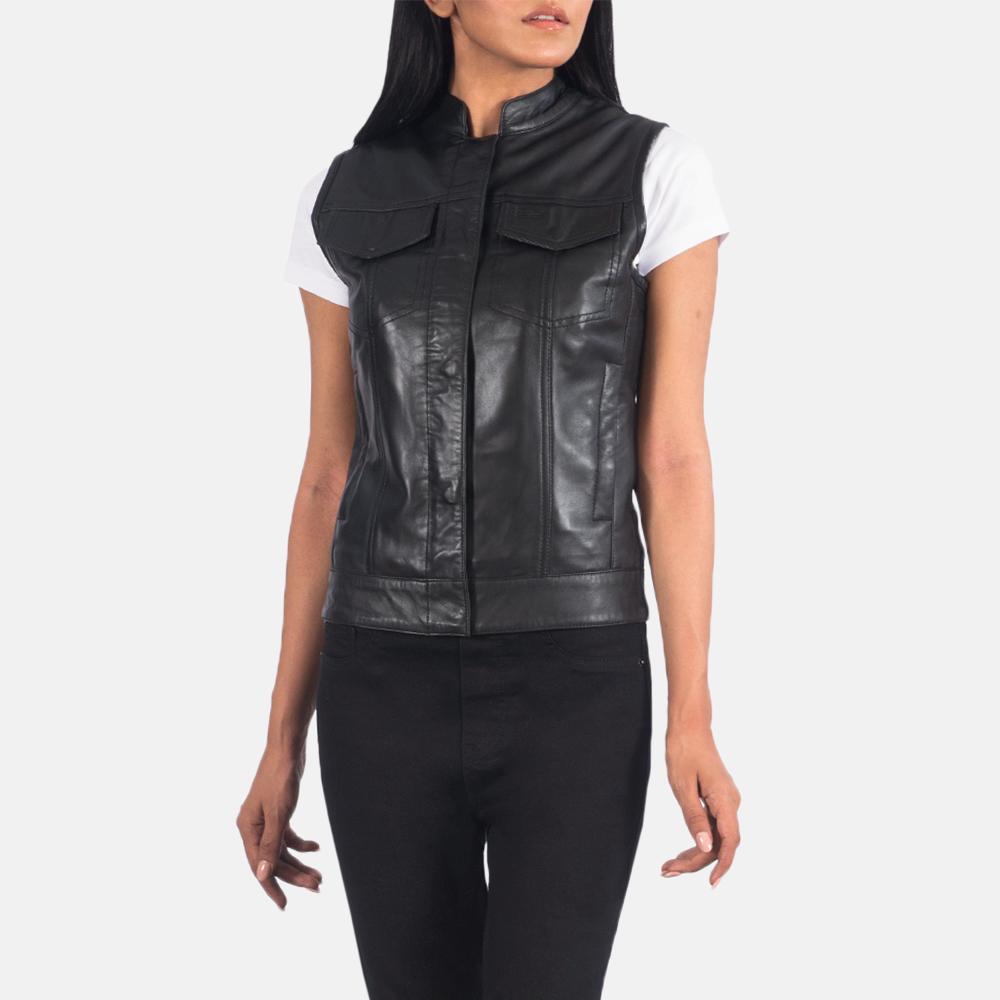 Women's Rayne Moto Black Leather Vest 3