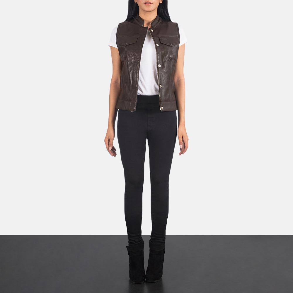 Women's Rayne Moto Brown Leather Vest 1