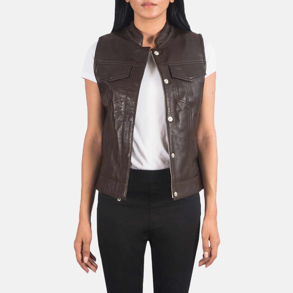 Women's Rayne Moto Brown Leather Vest 3