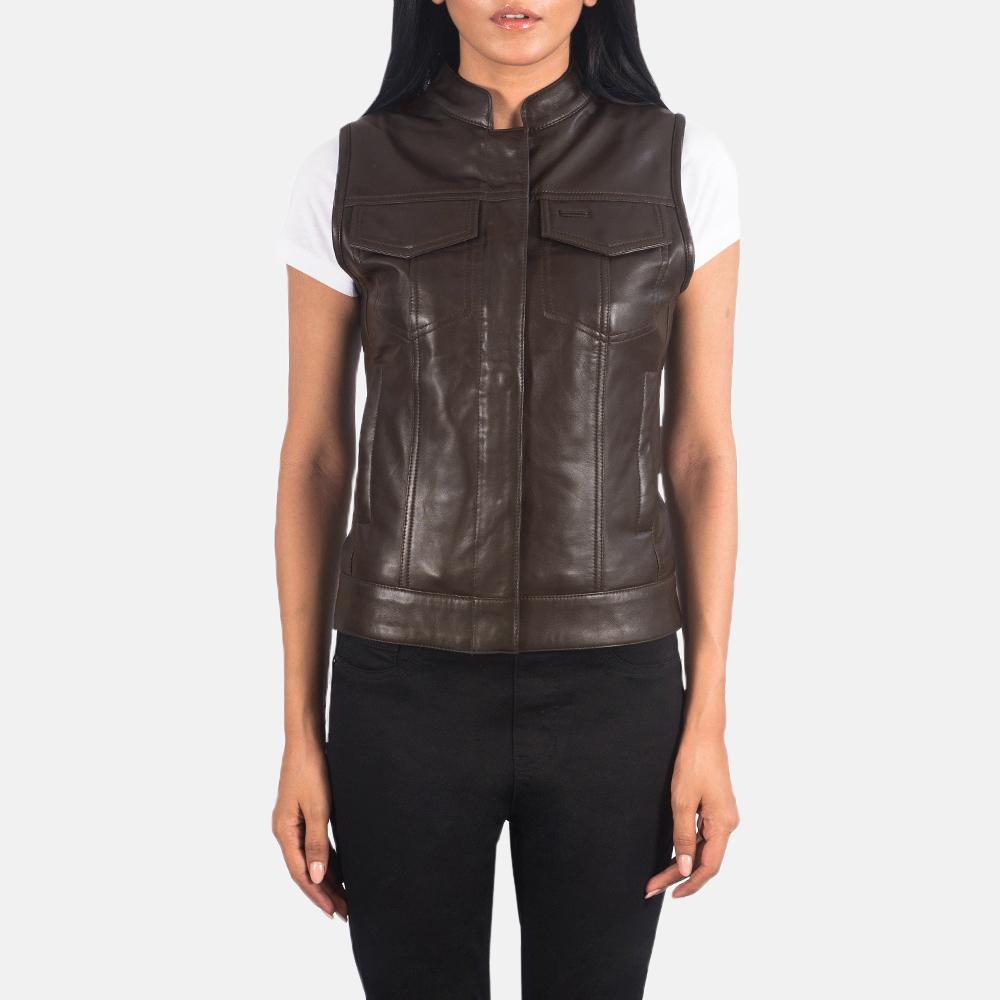 Women's Rayne Moto Brown Leather Vest 4