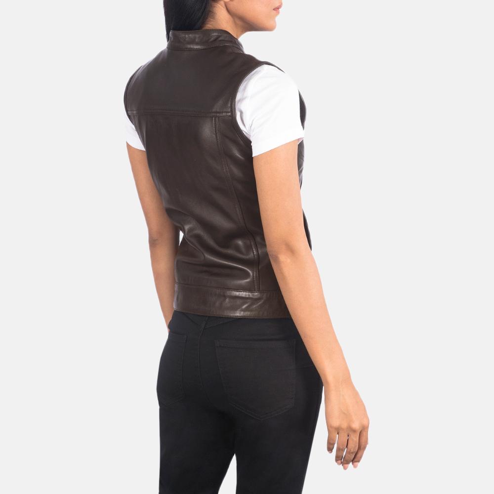 Women's Rayne Moto Brown Leather Vest 5
