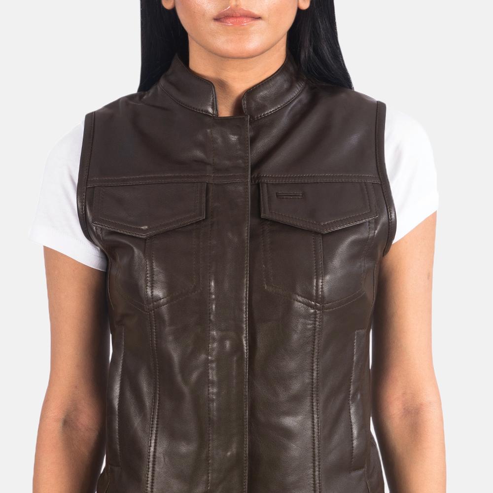 Women's Rayne Moto Brown Leather Vest 6