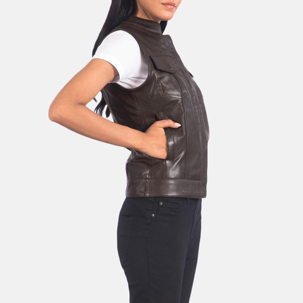 Women's Rayne Moto Brown Leather Vest 2
