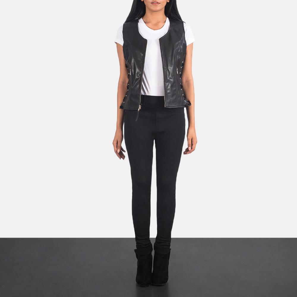 Women's Vanda Black Leather Biker Vest 1