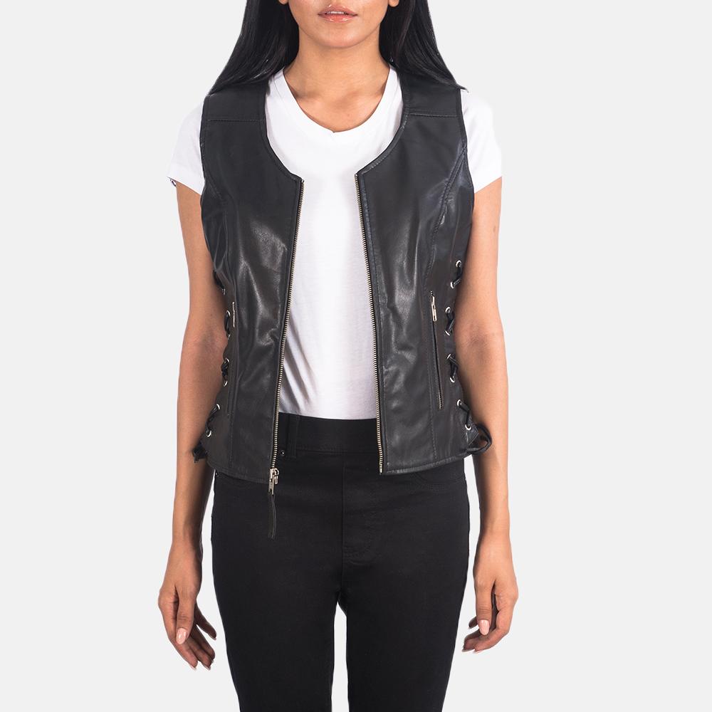 Women's Vanda Black Leather Biker Vest 3