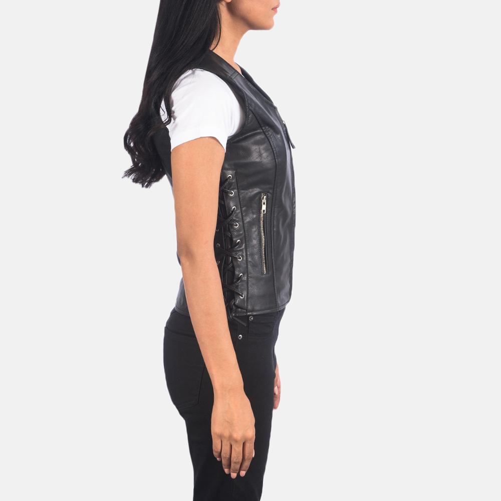 Women's Vanda Black Leather Biker Vest 6