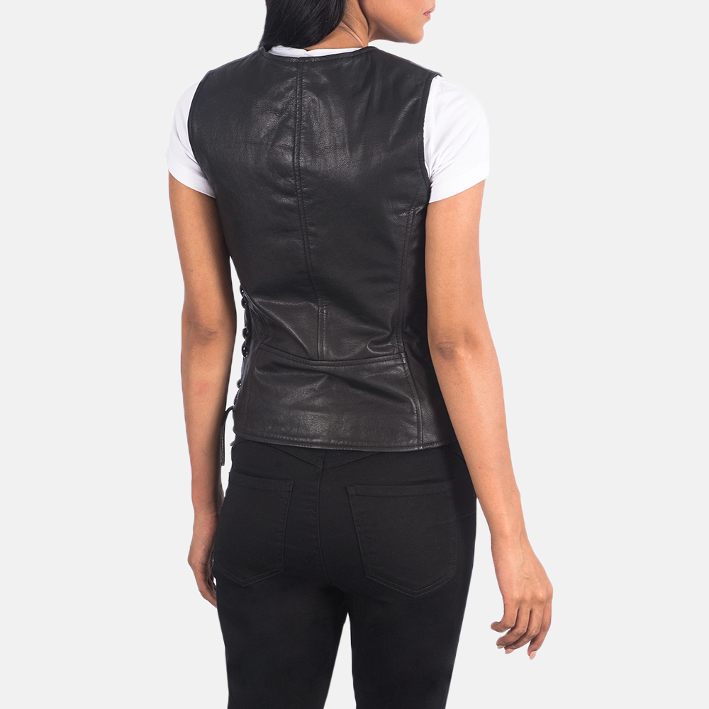 Women's Vanda Black Leather Biker Vest 5