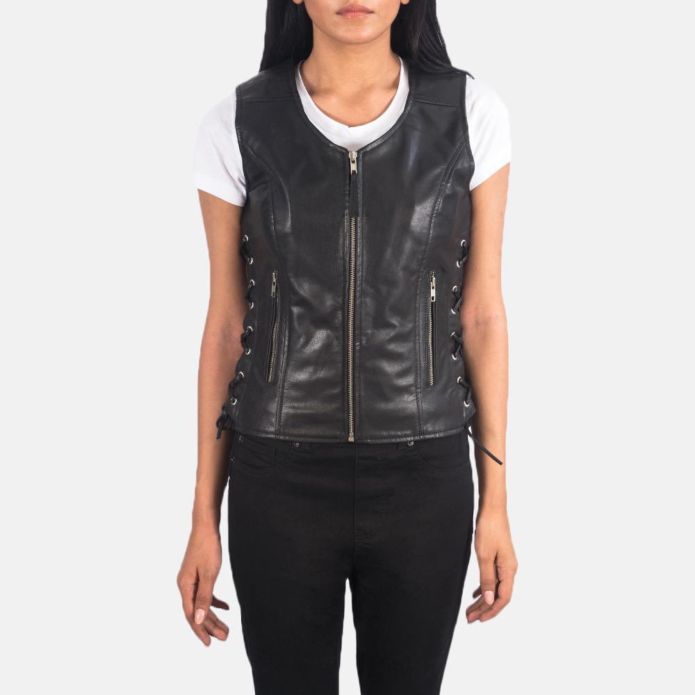 Women's Vanda Black Leather Biker Vest 4