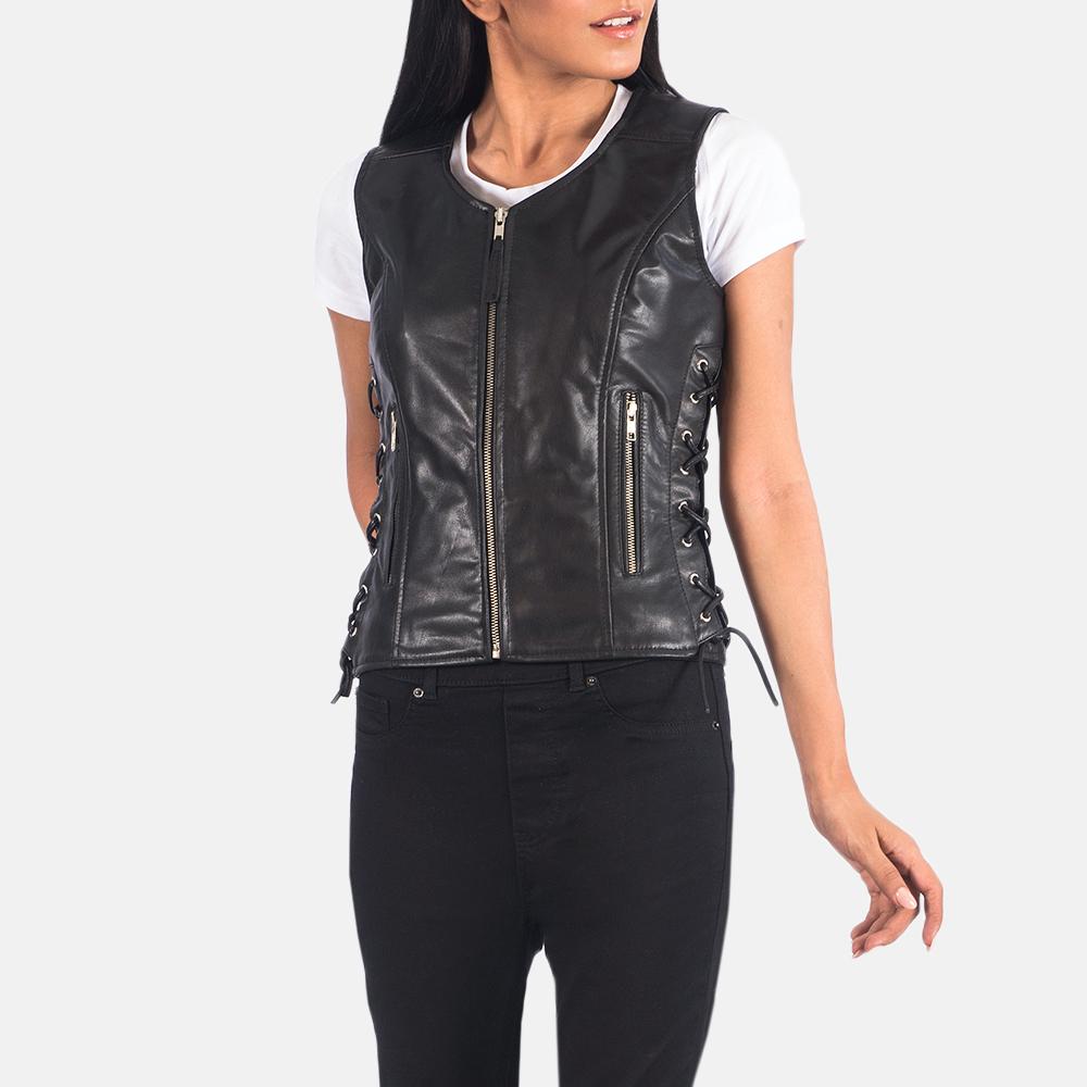 Women's Vanda Black Leather Biker Vest 2